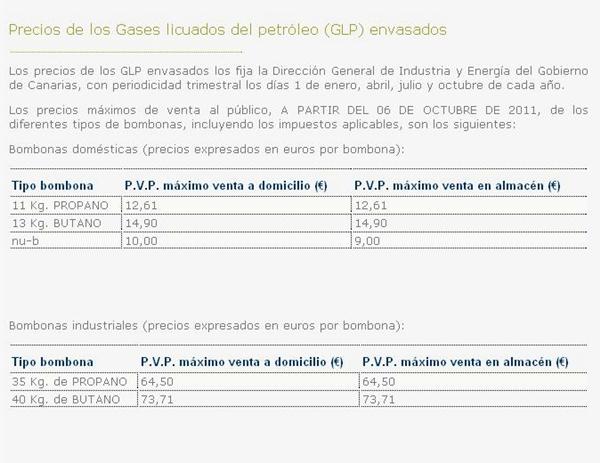 Precio del gas butano affordable stunning precio de la - Precio estufas de butano ...