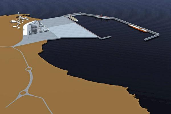 Infografía de la regasificadora de Granadilla en su ubicación en el futuro puerto. / DA