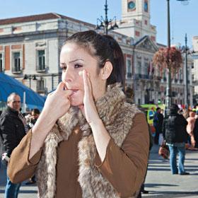 Una silbadora, en Madrid. / A. P.