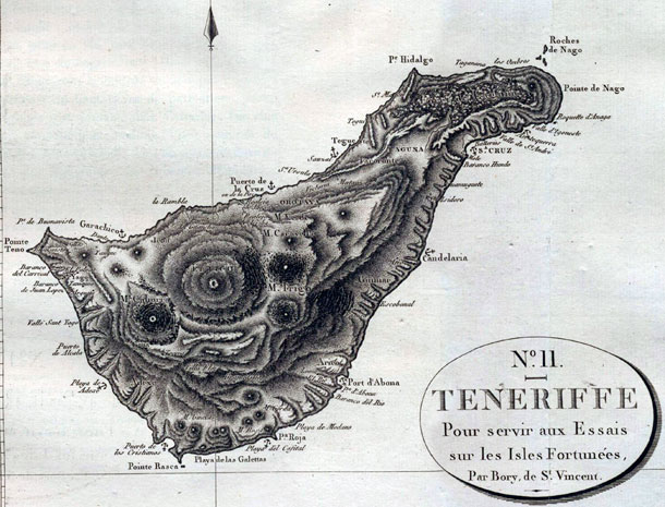Mapa antiguo de origén francés de Tenerife