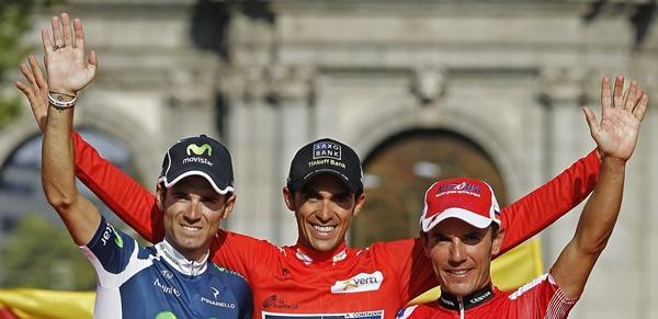 Alberto Contador Alejandro Valverde y Joaquin Purito Rodriguez