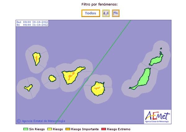 Imagen de los avisos meteorológicos en Canarias para mañana martes