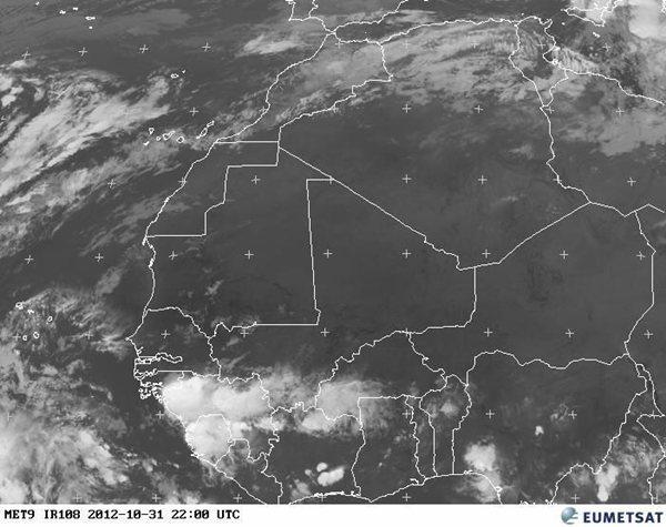 Imagen de satélite de la tormenta a las 20.00 horas
