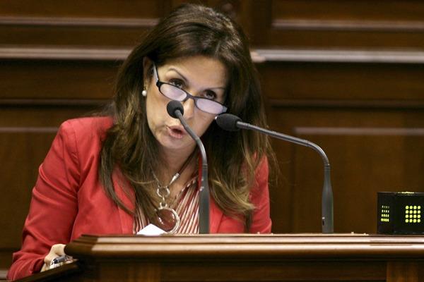 presidenta del grupo parlamentario socialista, Dolores Padrón, durante un pleno