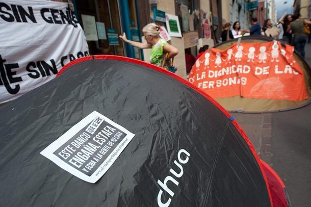 Huelga de hambre y acampada desahucios bankia FP