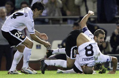 Valencia Feghouli celebra gol