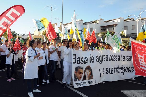 Marcha blanca de sanidad 14N unio HUC y HUNSC en San Juan de Dios JG