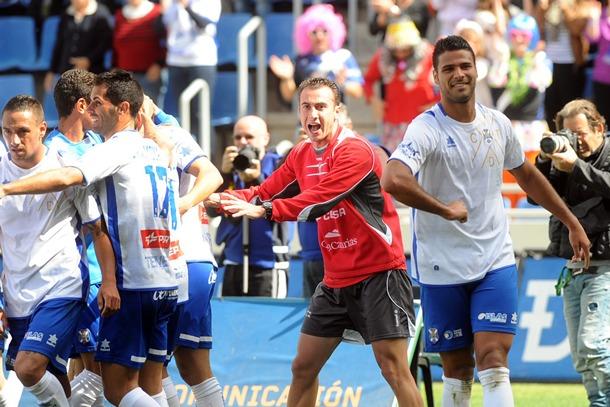 Aridane marcó ante el Leganés en el minuto 74. / SERGIO MÉNDEZ