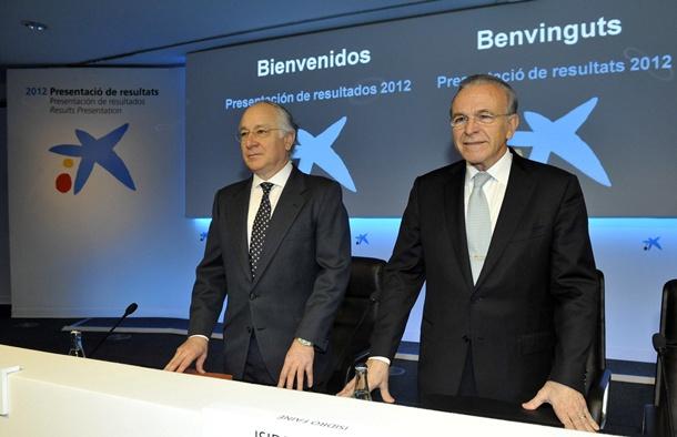 Isidro Fainé y Juan María Nin, durante la rueda de prensa de ayer. / DA