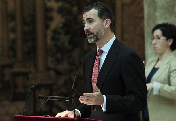 Don Felipe, ayer en el palacio de El Pardo. / EFE