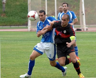Amado durante una jugada del encuentro disputado en el Antonio Domínguez. | M.P.