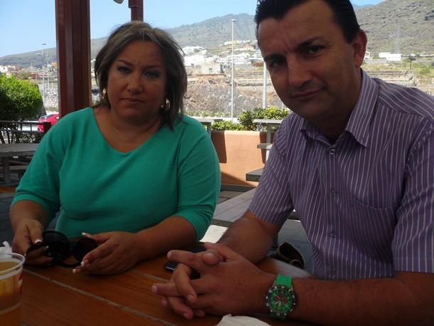 Karina Dainotto y José Fernando Gómez, ayer durante la entrevista en Candelaria. / NORCHI
