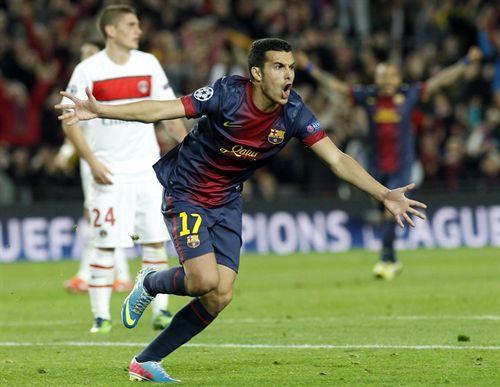 Pedro celebra un gol anotado al París Saint Germain.   E.P.