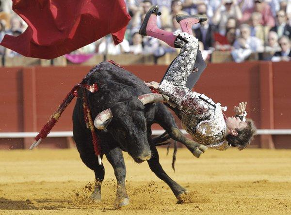 El diestro Julián López 'El Juli' es cogido por el primer toro de su lote, del hierro de Cortes, durante la undécima corrida de abono de la Feria de Abril celebrada en la Real Maestranza de Sevilla.| EFE
