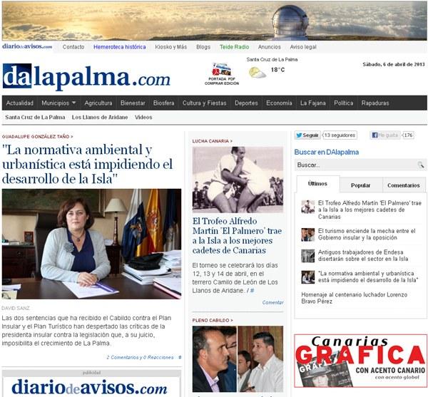 Captura de pantalla del portal DAlapalma.   DA