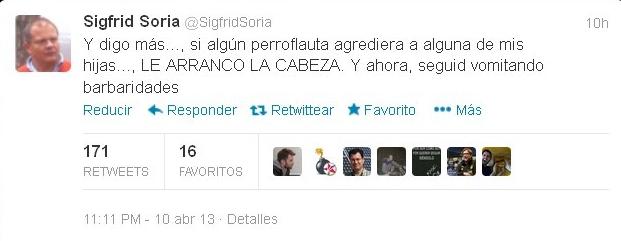Captura del twitter de Sigfrido Soria. | DA