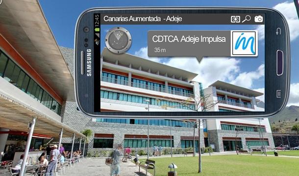 Imagen de un smartphone con un programa de realidad aumentada Centro de Desarrollo Turistico Costa Adeje (CDTCA)