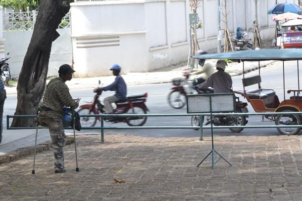 Discapacitado en el Wat Phnom de Phnom Penh