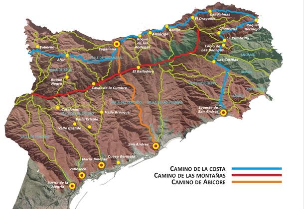 Mapa Red de Caminos Parque Rural de Anaga