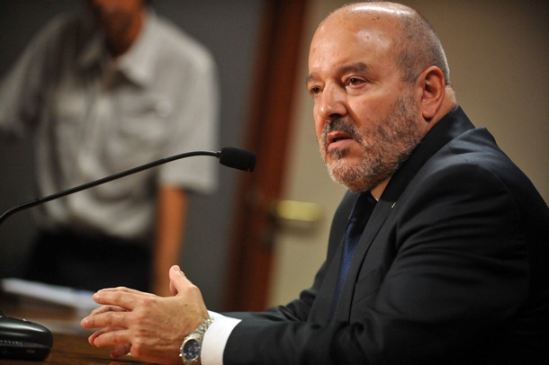 El presidente del CD Tenerife, Miguel Concepción durante una rueda de prensa