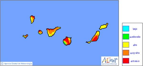 Mapa riesgo incendios AEMET