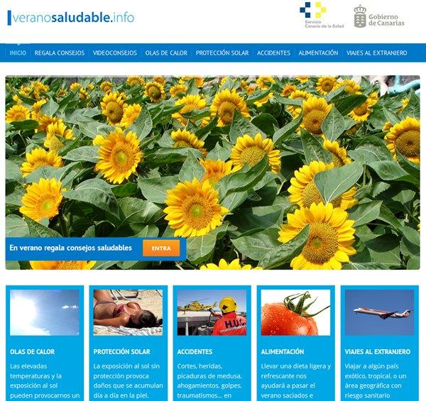 web de la consejería sobre consejos saludables para el verano
