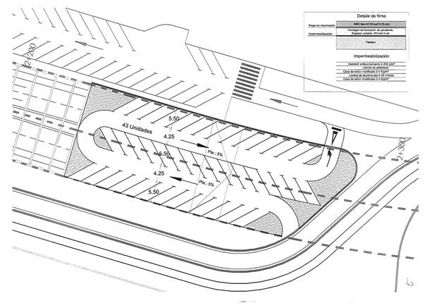 Plano aparcamientos sobre tunel Vía Litoral