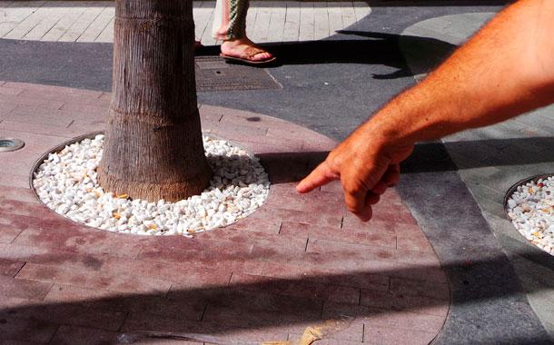 La suciedad se ha incrementado con la obra, dicen los vecinos. Heces de perro, colillas de cigarros y latas se acumulan a los pies de las palmeras. / MOISÉS PÉREZ