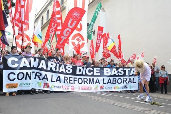 manifestacion huelga general 29 de marzo en Santa Cruz de Tenerife