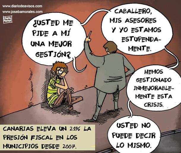 Aumento de la presión fiscal municipal, viñeta de Joseba Morales