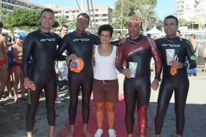 Adrián Luis, Diego Ceres, Yeray Herrera y Eduardo Negrín finalizaron el reto de dar la vuelta a Tenerife a nado