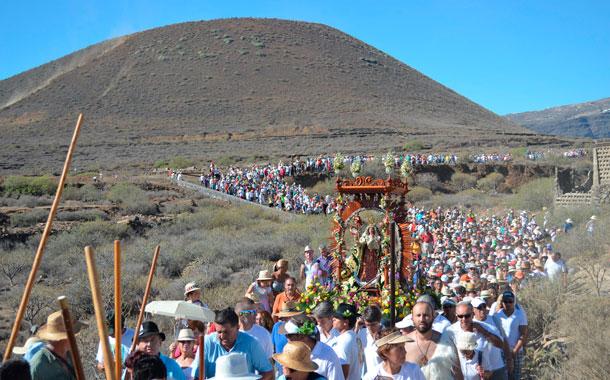 Cuando la Virgen llegó a El Socorro aún había peregrinos en el camino. /  YUMEL LEÓN