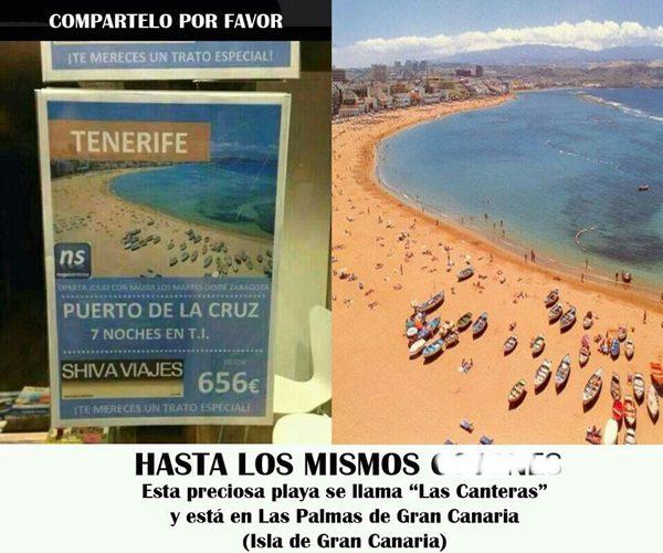 Promoción de Puerto de la Cruz usando una foto de Las Canteras.