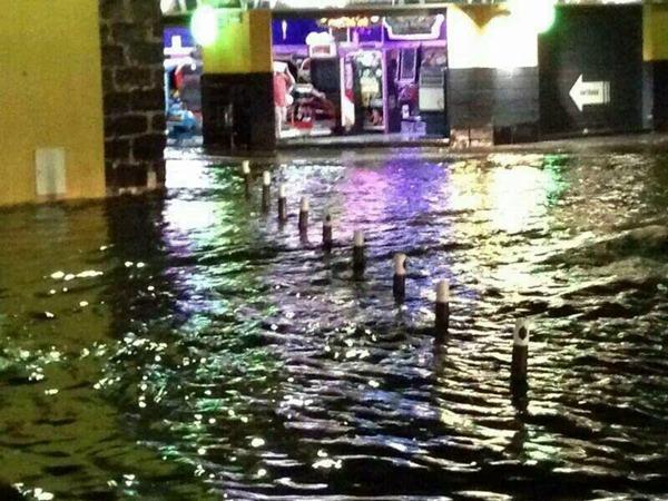Imagen de la Plaza del charco inundada. | Meteo La Matanza