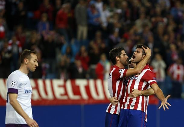 Diego Costa celebra uno de los goles del Atlético de Madrid ante el Austria de Viena. | REUTERS