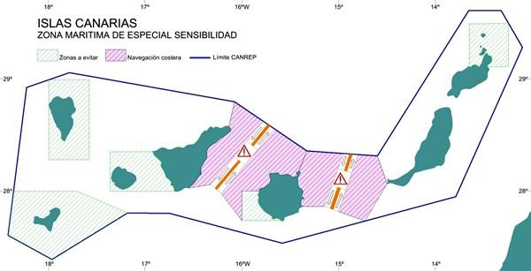 Mapa de seguridad marítima de Canarias tras la declaración de la OMI de hace seis años. / DA