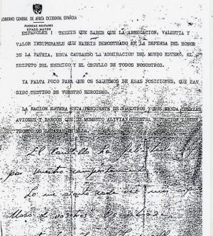 Copia de la carta que el Gobierno de Ifni les lanzó a los defensores de Tiliuin desde un Junkers. | DA