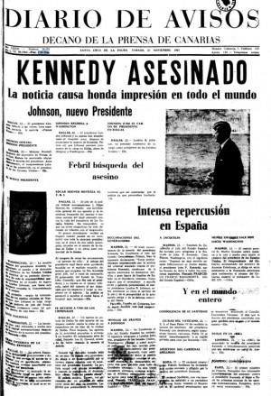 portada de diario de avisos, asesinato de kennedy