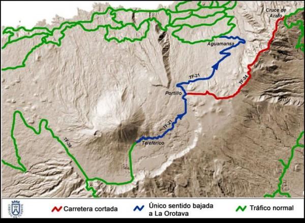 Teide. mapa para subir después de la tormenta