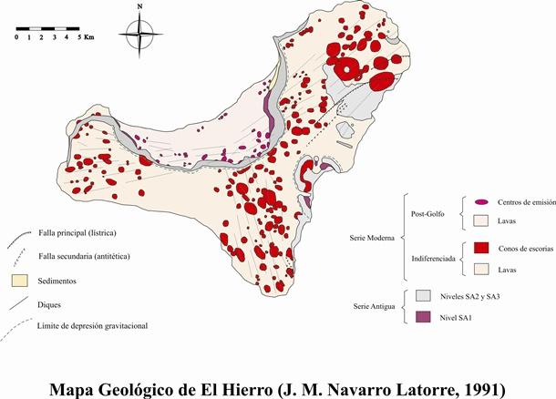 mapa geológico-estructural de la Isla de El Hierro
