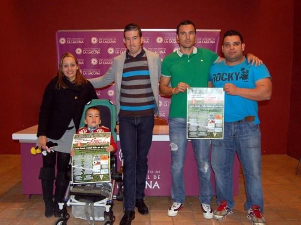 Pedro Gutiérrez y el futbolista David Dorta  niño Alexander Galván