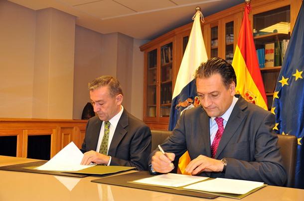 Paulino Rivero y Eduardo Ozaita,director general de empresas de Bankinter