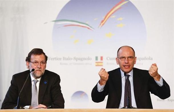 Mariano Rajoy y el primer ministro italiano Enrico Letta