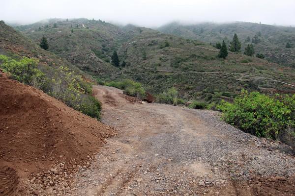 Pista de acceso al caserío de Las Fuentes desde el pueblo de Tejina, que ha quedó dañada por las lluvias. / DA