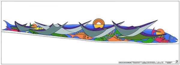 El proyecto de Pepe Dámaso consiste en un dibujo con barcos y peces en relieve. | DA