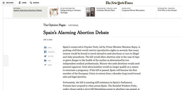 NEW YORK TIMES REFORMA ABORTO