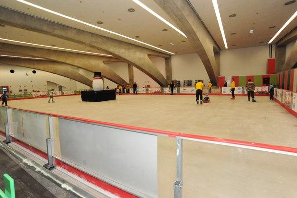 La pista de hielo fue incorporada este año por primera vez al parque infantil del Recinto Ferial con bastante éxito de participación. | JAVIER GANIVET