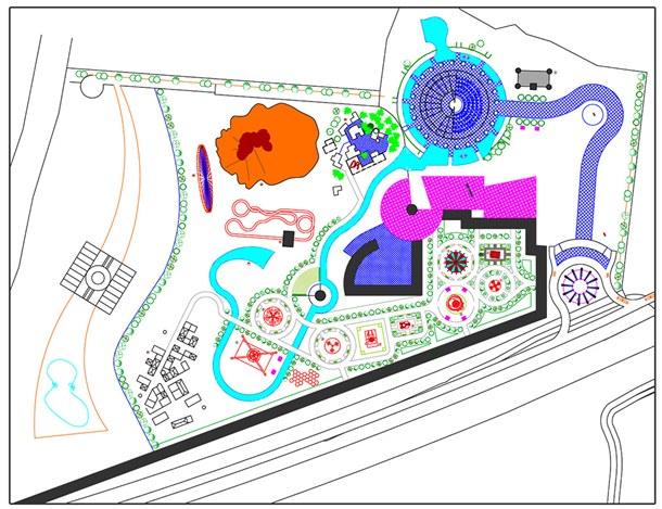 Plano del parque que tendrá 16 atracciones, una galería comercial, un auditorio y un resort hotelero. / DA