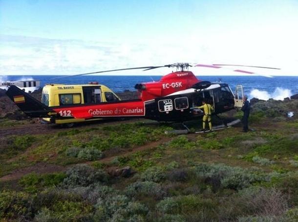 Helicoptero del GES y ambulancia del SUC ahogado Buenavista