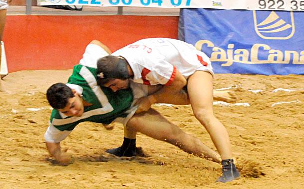 Cervera, Moyano y Aridane presenciaron una luchada emocionante en Valle de Guerra y Eusebio Ledesma pasa hoy por el quirófano. / JAVIER GANIVET